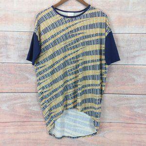 Lularoe Irma Tunic Gold Blue Print Tunic Top XXS